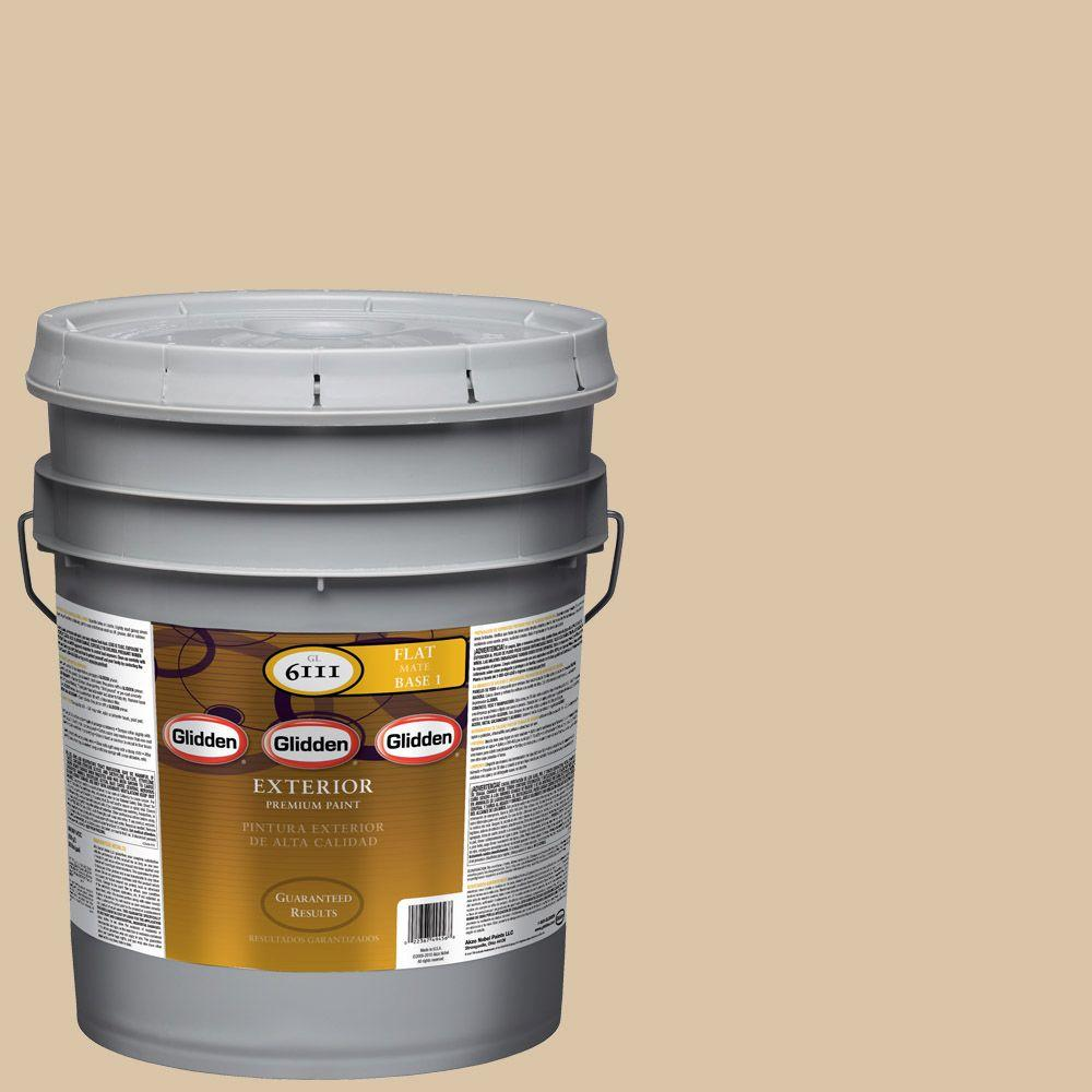 Interior Paint, Exterior Paint & Paint Samples: Glidden Premium Paint 5-gal. #HDGO63 Whispering Wheat Flat Latex Exterior Paint HDGO63PX-05F