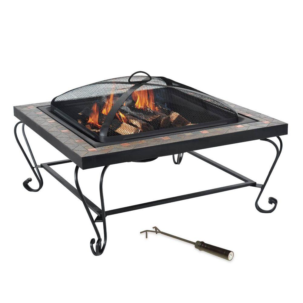 null Copper Inlay Slate Fire Pit