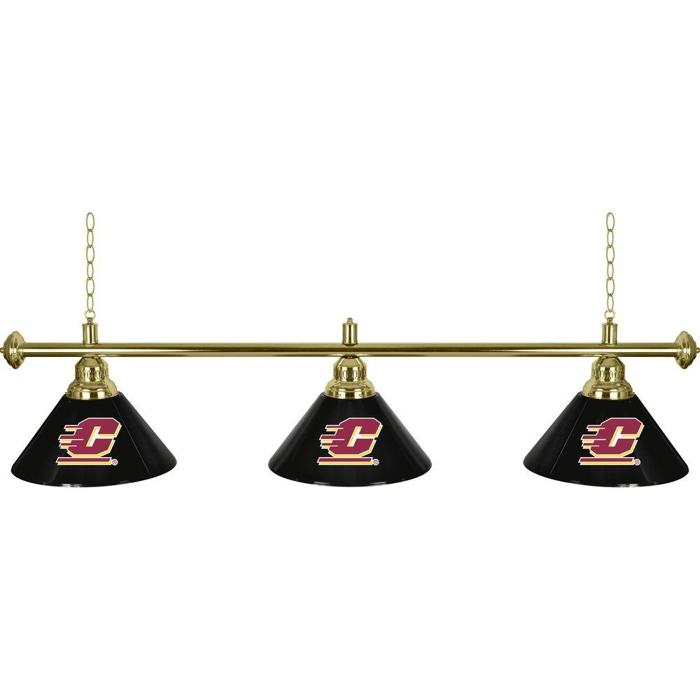 Trademark Central Michigan University 60 in. Three Shade Gold Hanging Billiard Lamp