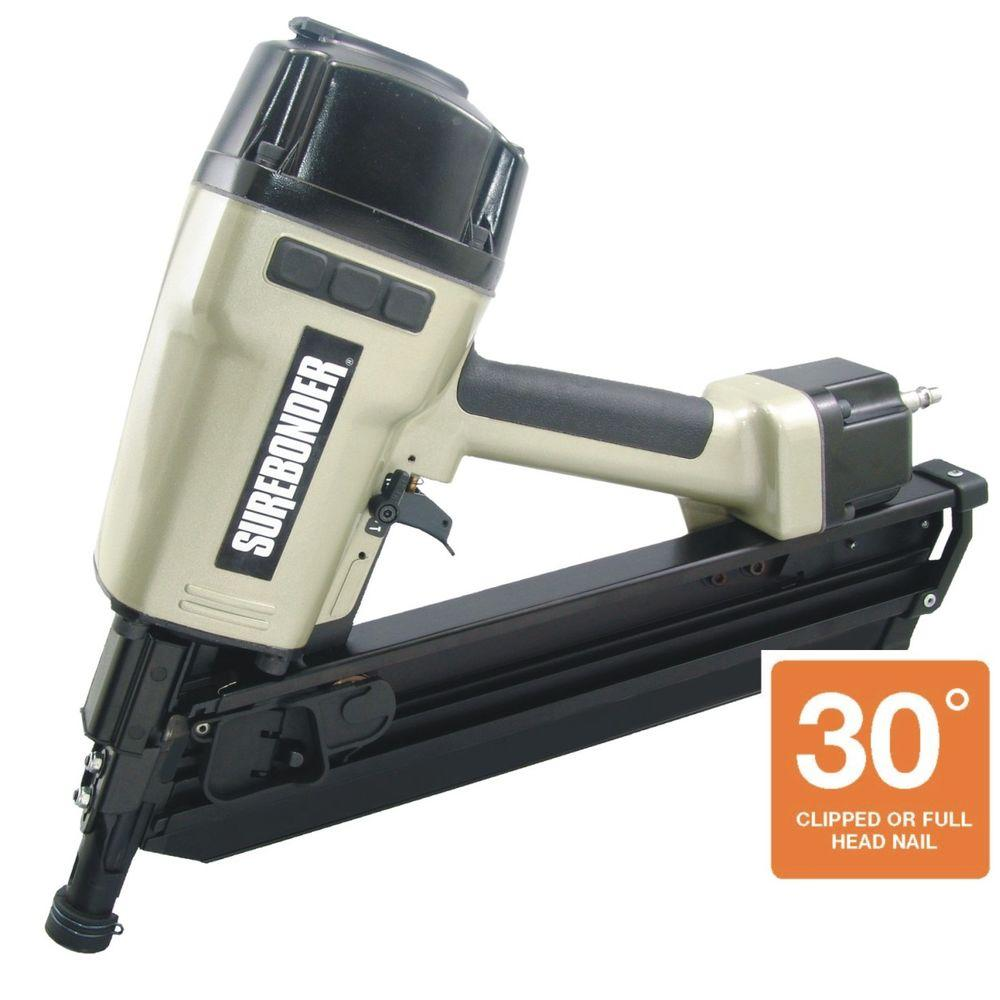 Surebonder Pneumatic 2 in. - 3-1/2 in. 33 Degree Paper Collated Clipped Head Framing Nailer with Case
