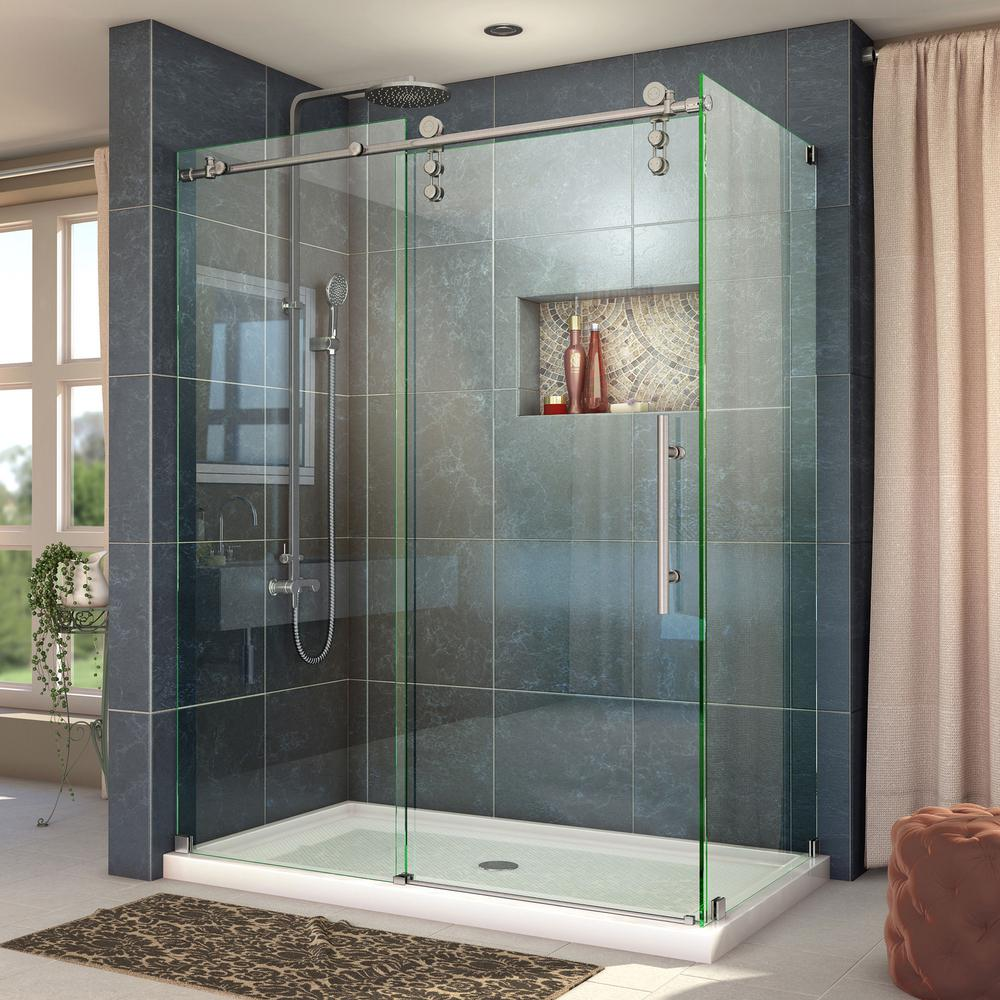 DreamLine Enigma-Z 44-3/8 to 48-3/8 in. x 34-1/2 in. x 76 in. Frameless Sliding Shower Enclosure in Brushed Stainless Steel