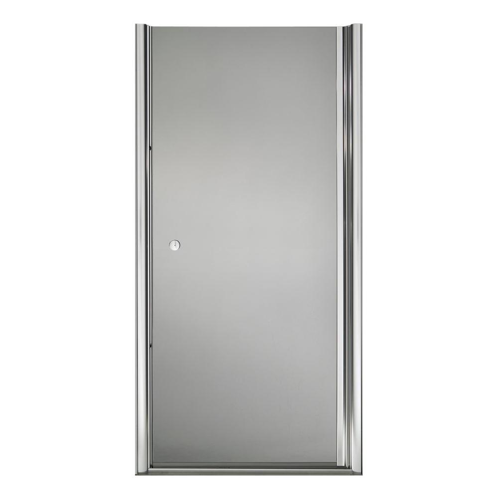 KOHLER Fluence Pivot Shower Door with Rhapsody Glass in Bright Silver-DISCONTINUED