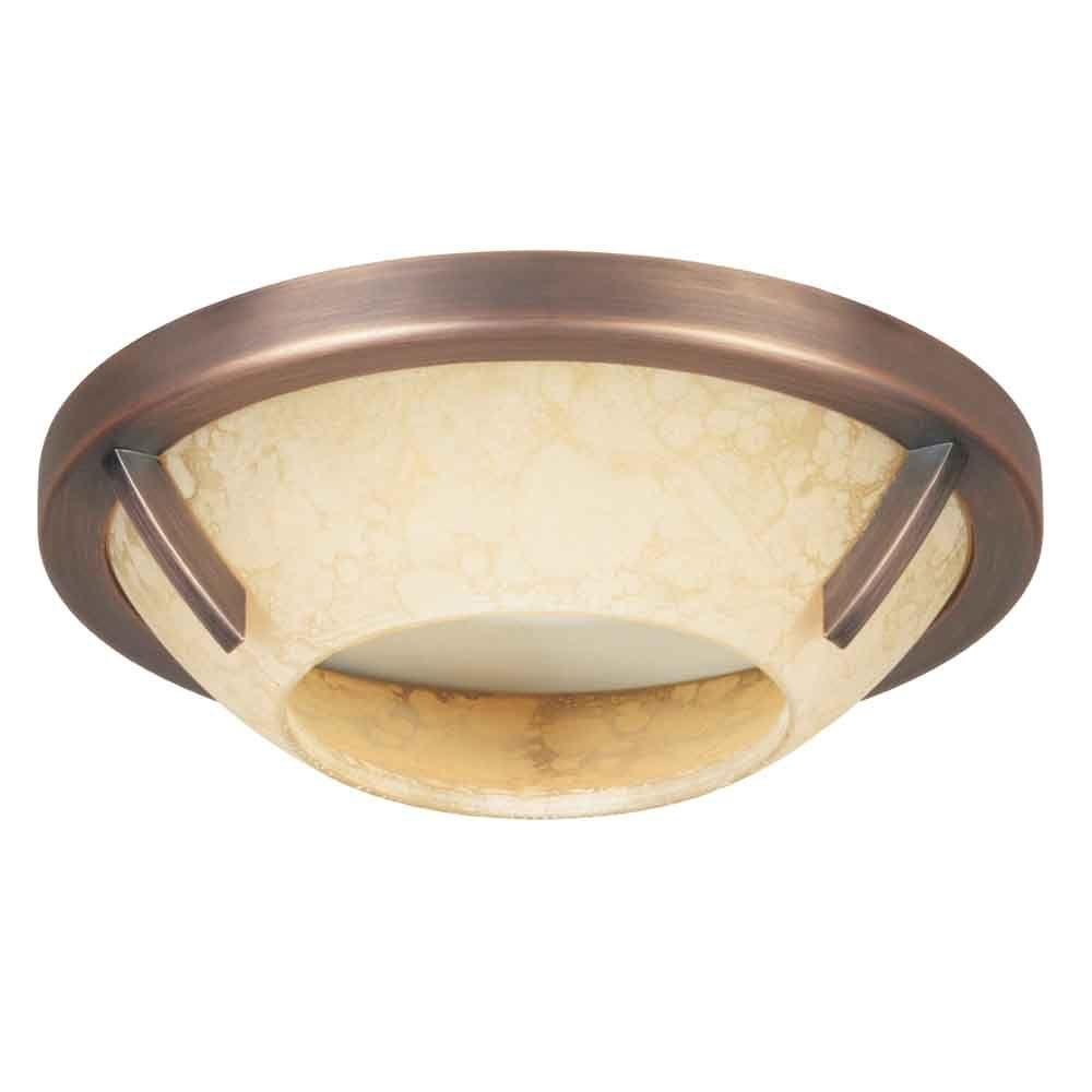 4 in. Brushed Copper Bronze Recessed Deco Trim with Speckled Amber Glass