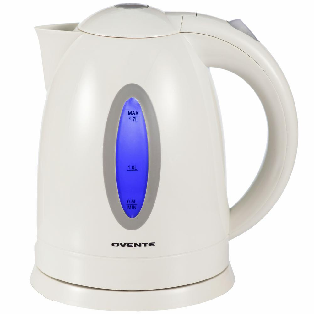 6.5-Cup BPA-Free Plastic Cordless White Electric Kettle