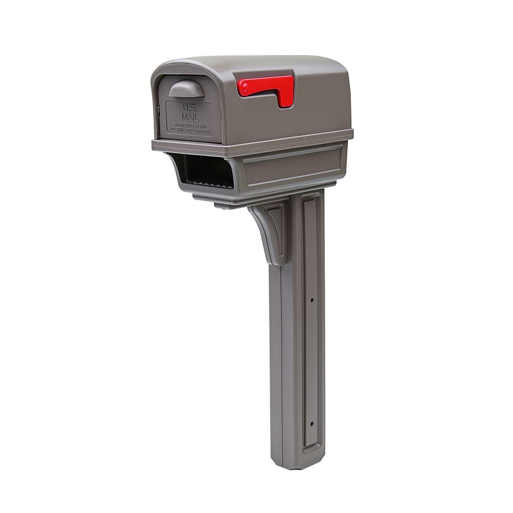 Gentry All-in-One Plastic Mailbox and Post Combo, Mocha