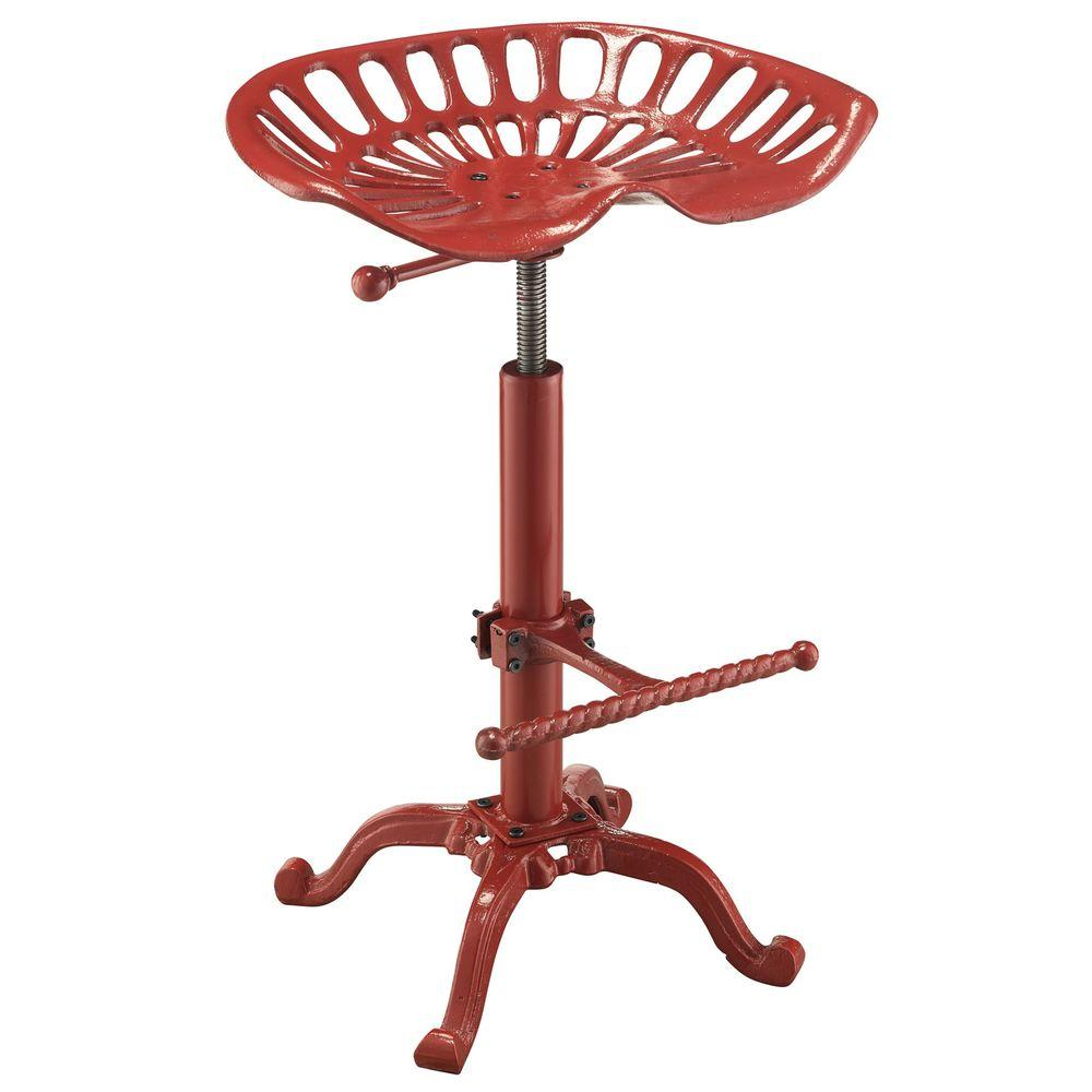Carolina Cottage Adjustable Tractor Seat Metal Stool In