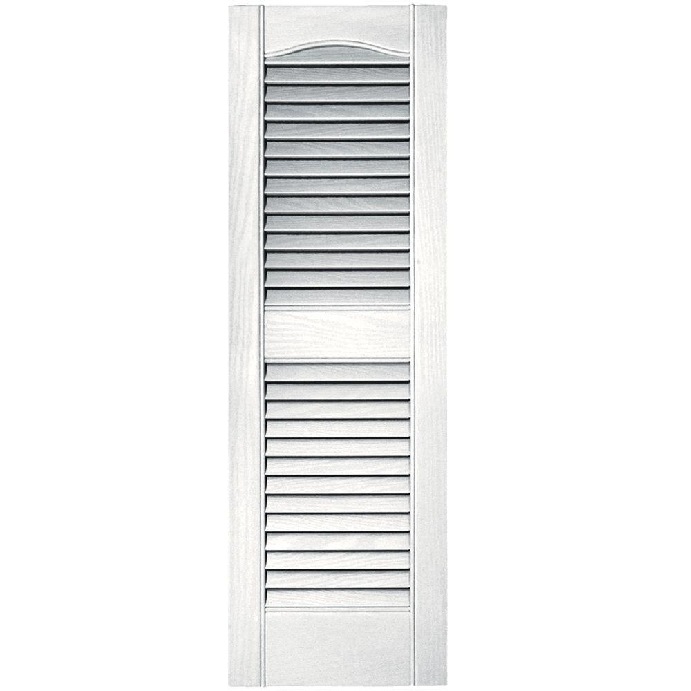 Builders Edge 12 in. x 36 in. Louvered Vinyl Exterior Shutters Pair #117 Bright White