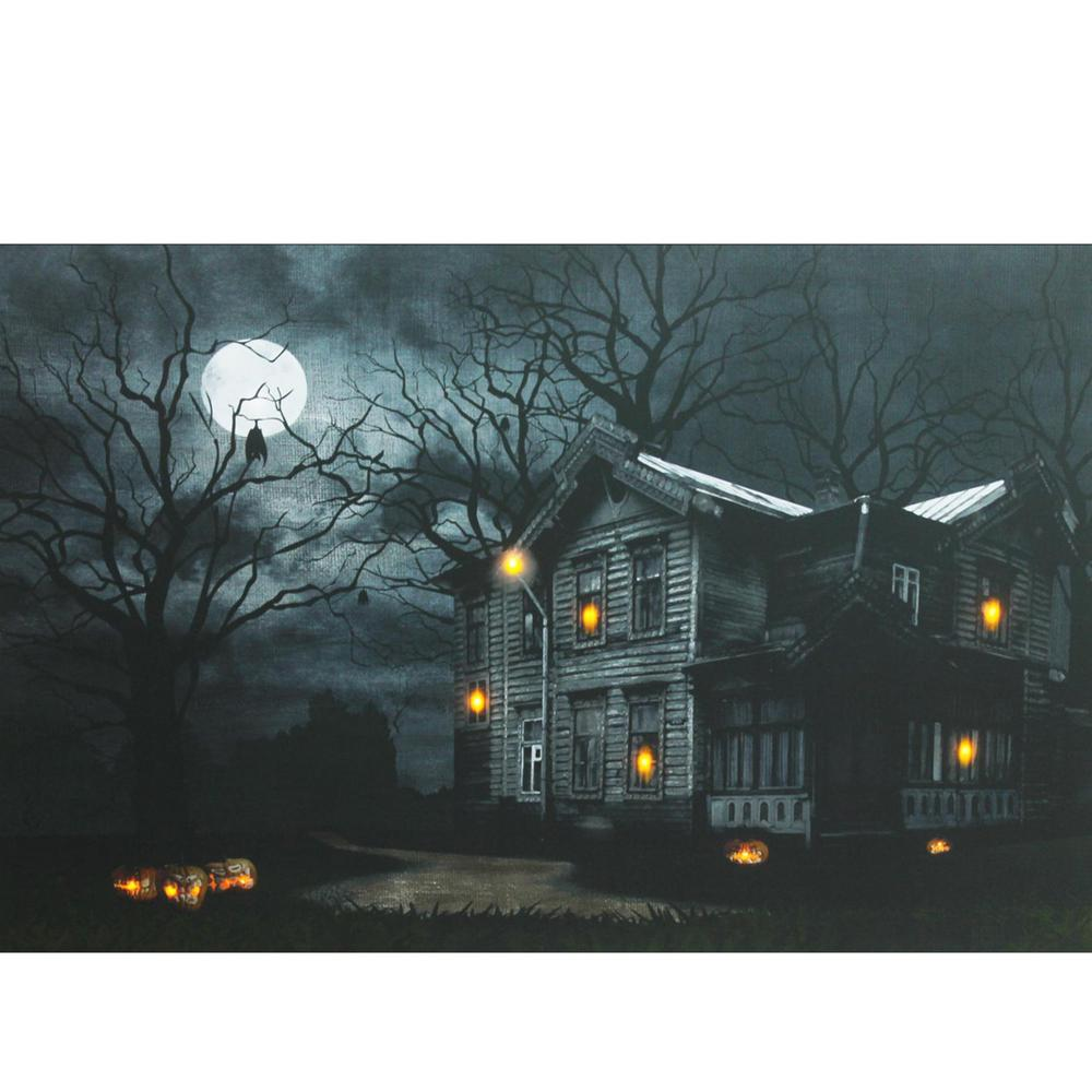 15.75 in. x 19.5 in. LED Lighted Moonlit Halloween House ...