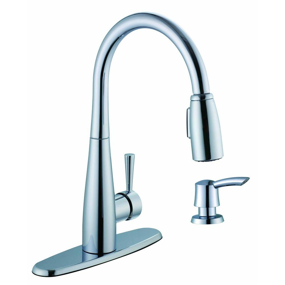 Glacier Bay 900 Series Single-Handle Pull-Down Sprayer Kitchen Faucet with Soap Dispenser in Chrome