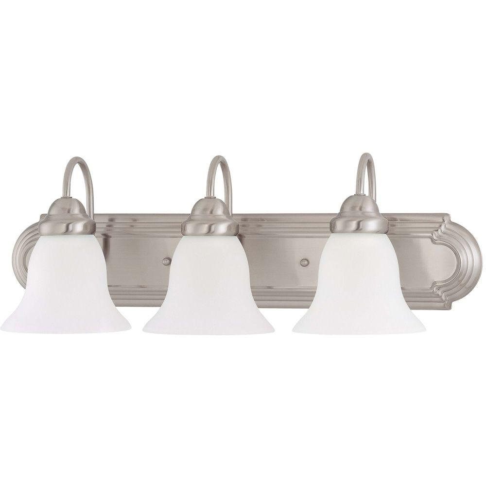 Glomar 3-Light Brushed Nickel Vanity Light with Frosted White Glass-HD-3279 -