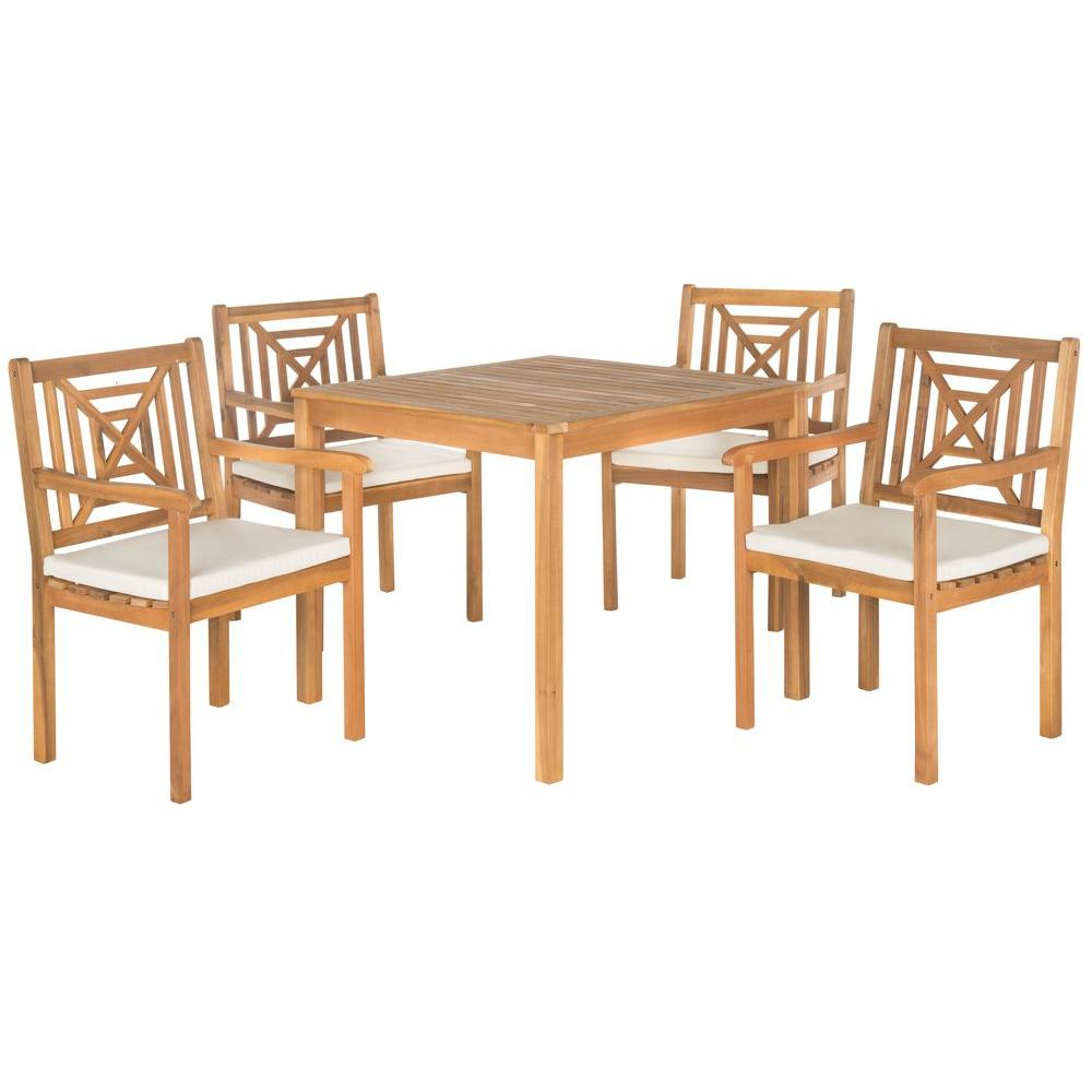Del Mar Teak Brown 5-Piece Patio Dining Set with Beige Cushions