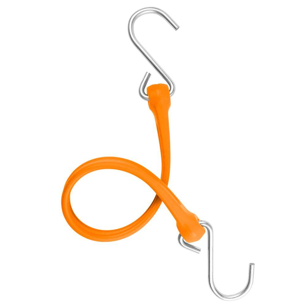 The Perfect Bungee 13 in. EZ-Stretch Polyurethane Bungee Strap with Galvanized S-Hooks (Overall Length: 18 in.) in Orange