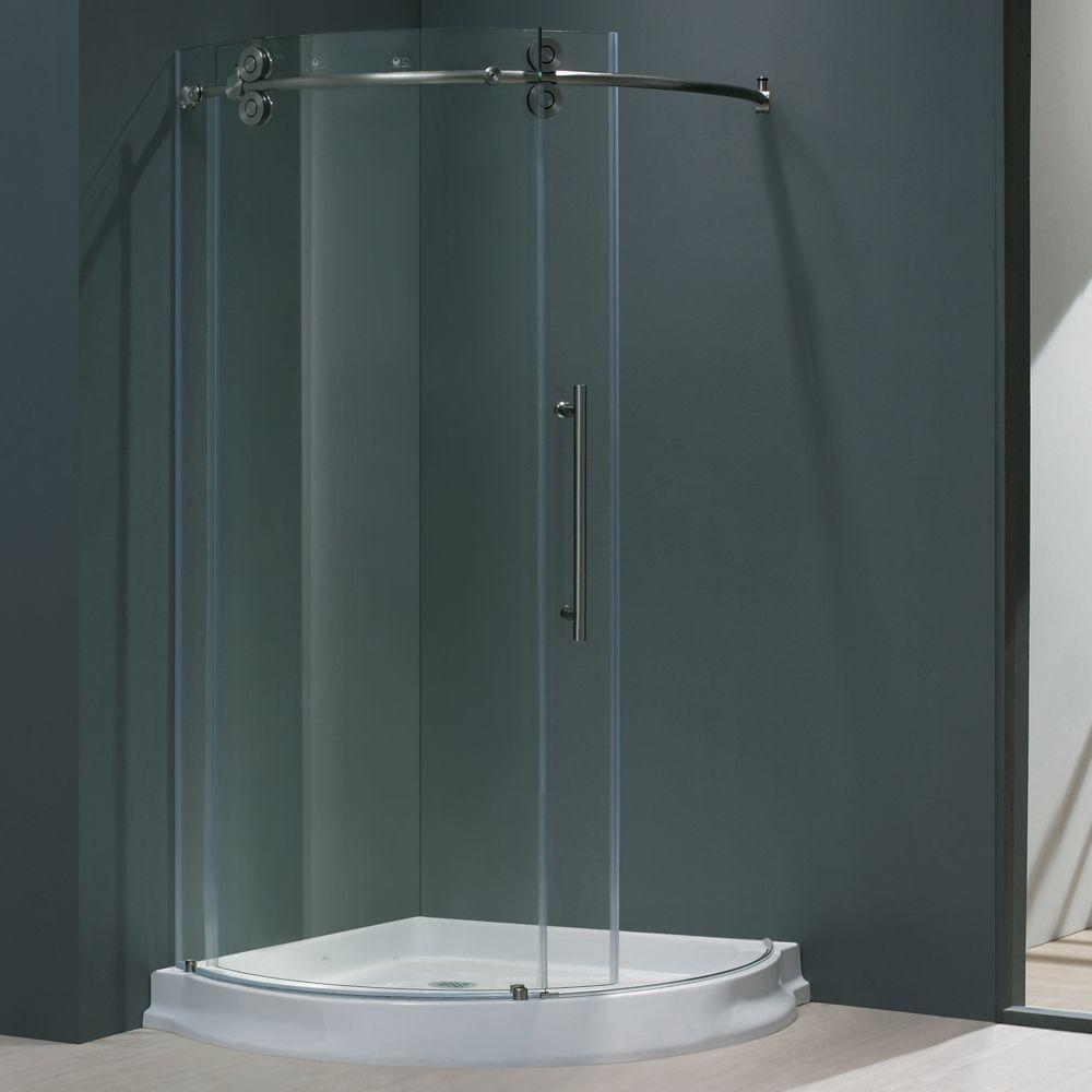Sanibel 40.5 in. x 79.5 in. Frameless Bypass Shower Enclosure in Stainless Steel and Right Base