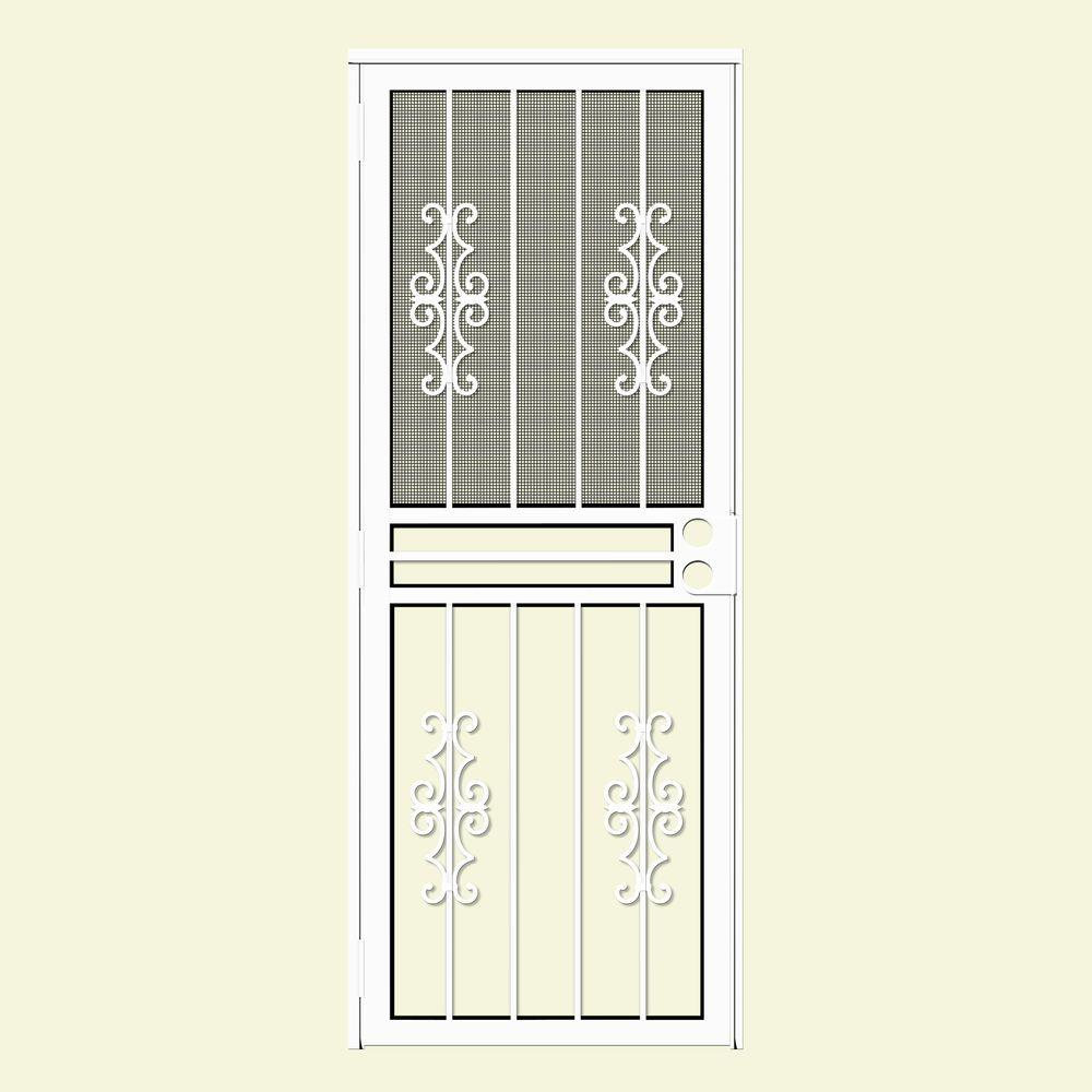 Unique Home Designs 30 In X 80 In Watchman Duo White Recessed Mount All Season Security Door