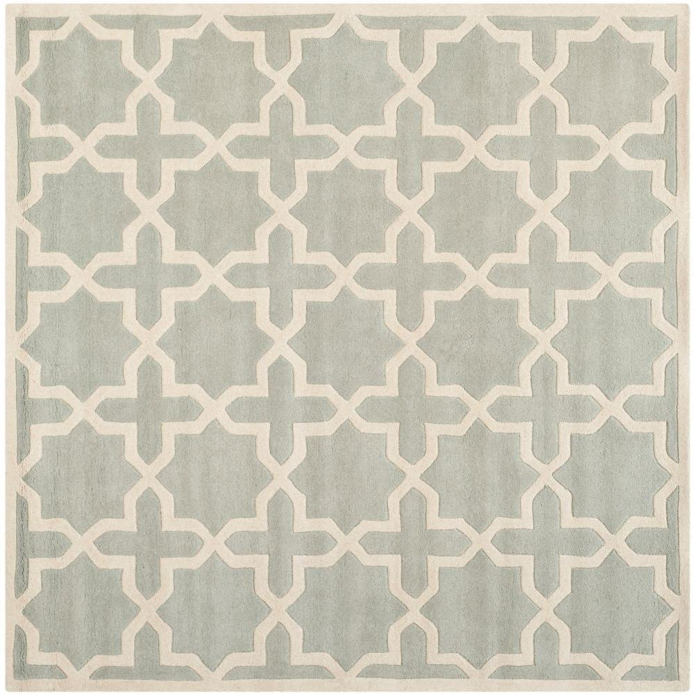 Safavieh Chatham Grey/Ivory 5 ft. x 5 ft. Square Area Rug-CHT732E-5SQ