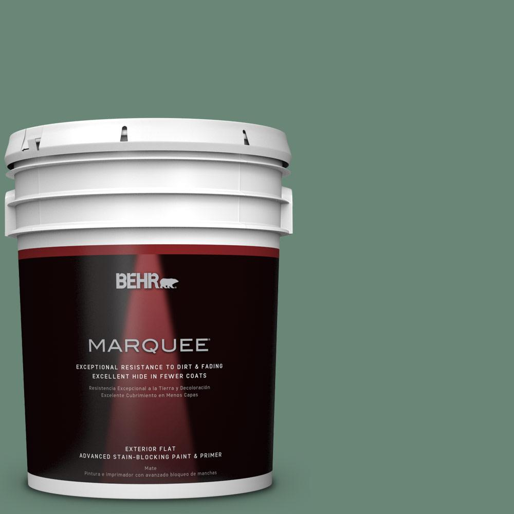 BEHR MARQUEE 5-gal. #PPF-35 Green Adirondack Flat Exterior Paint-445305 - The