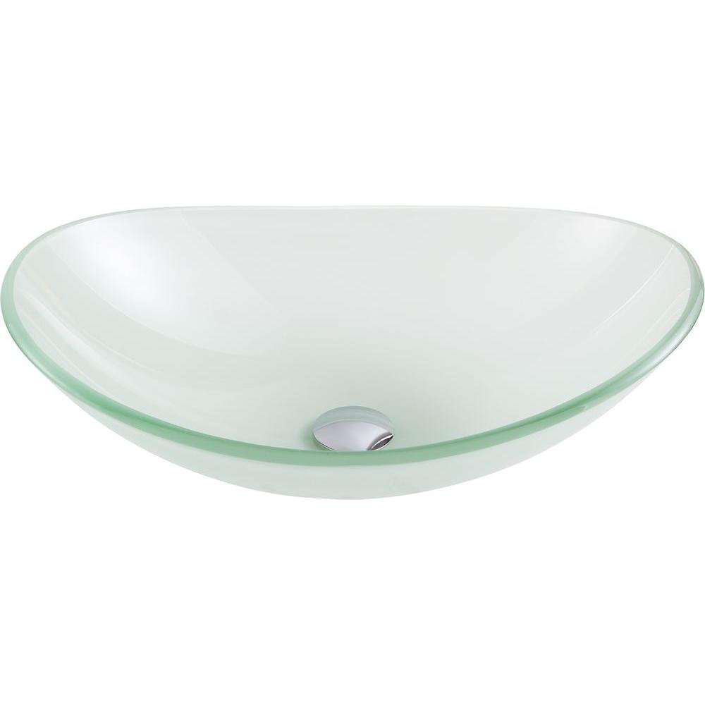 Forza Series Deco-Glass Vessel Sink in Lustrous Frosted