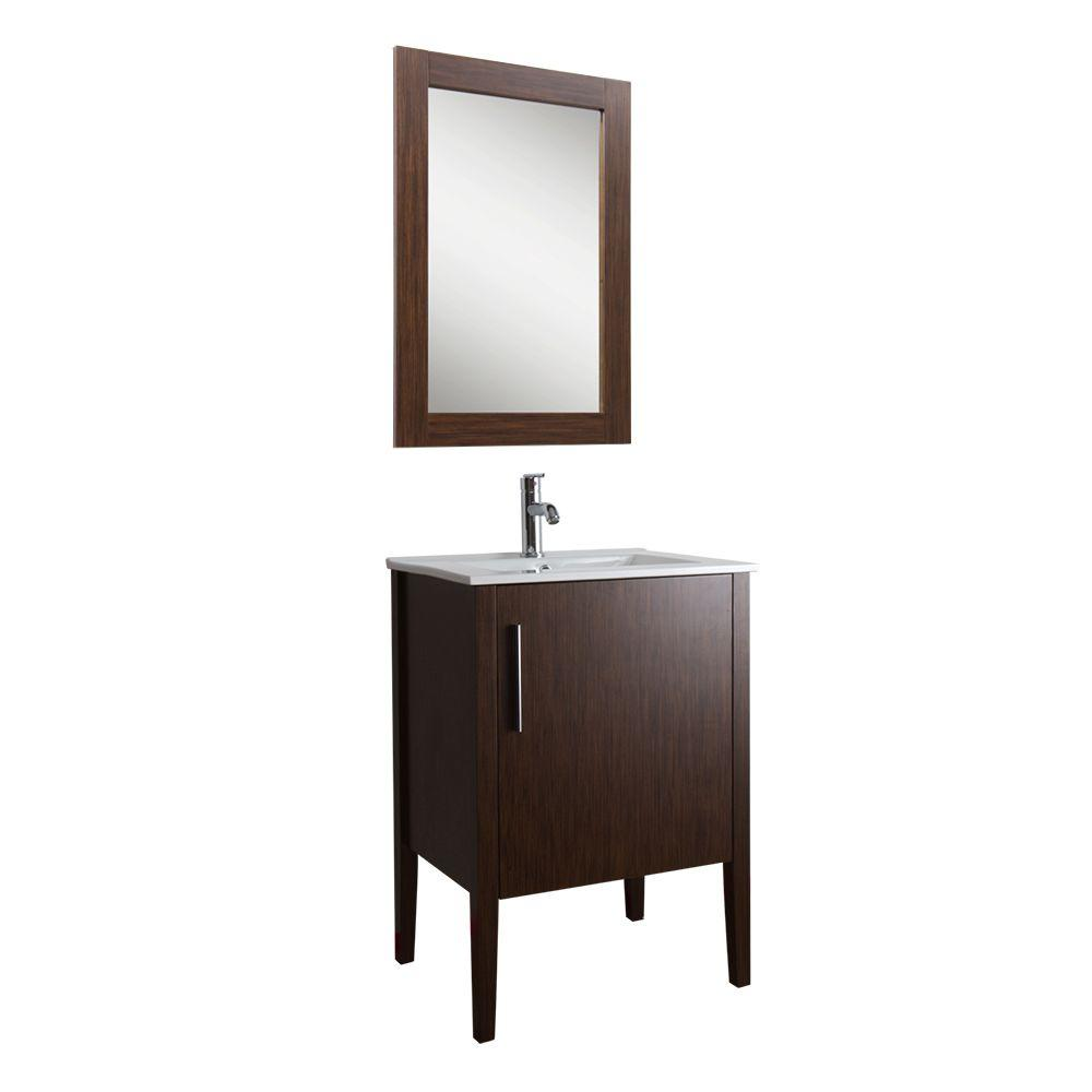 Vigo Maxine 24 in. Vanity in Wenge with Porcelain Vanity Top in White and Matching Mirror