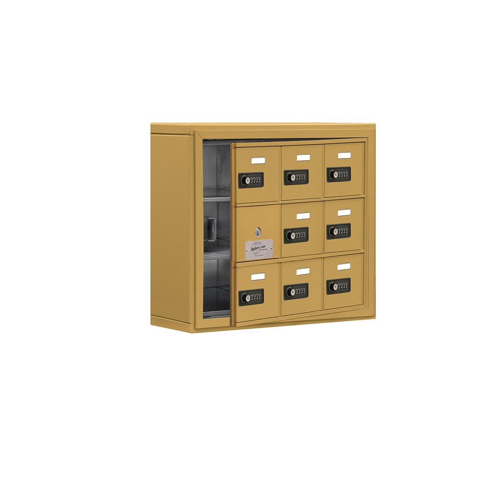 19100 Series 24 in. W x 20 in. H x 6.25 in. D 8 Doors Cell Phone Locker S-Mount Resettable Locks in Gold