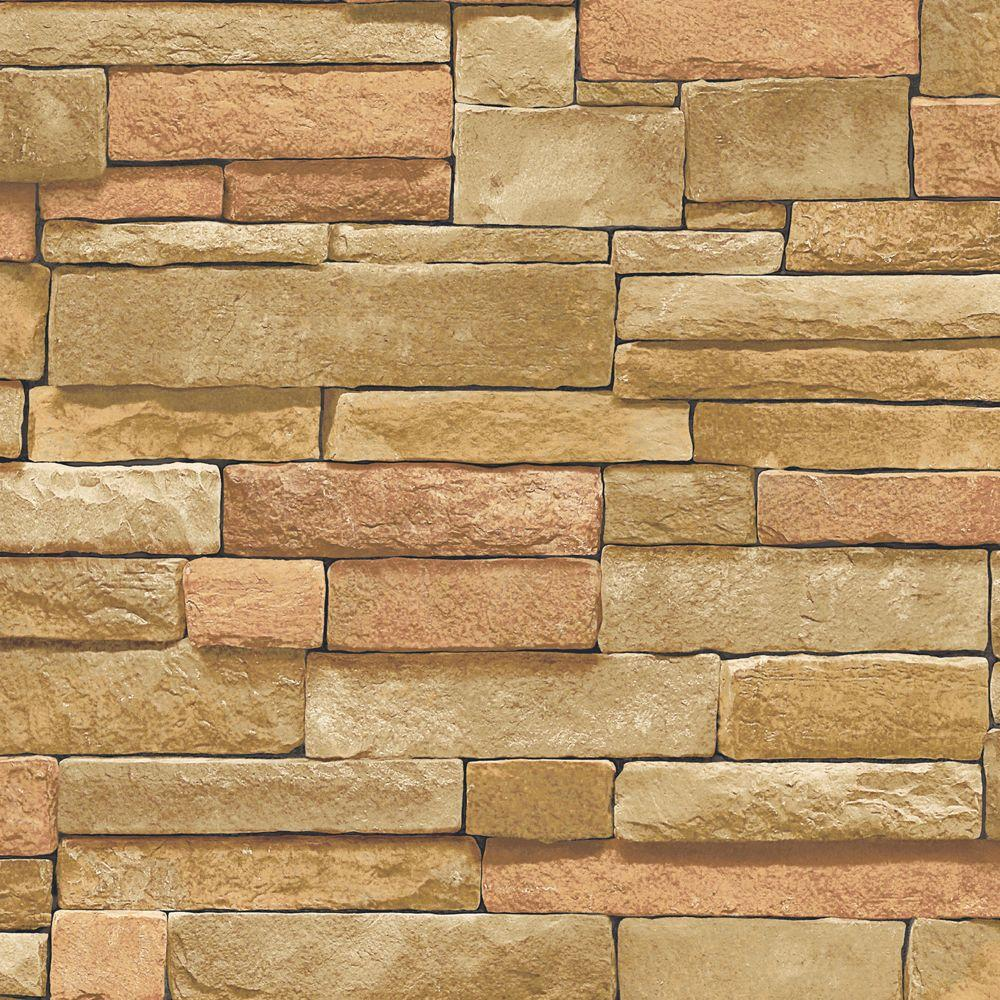 56 sq. ft. Brown Earth Tone Stone Wallpaper