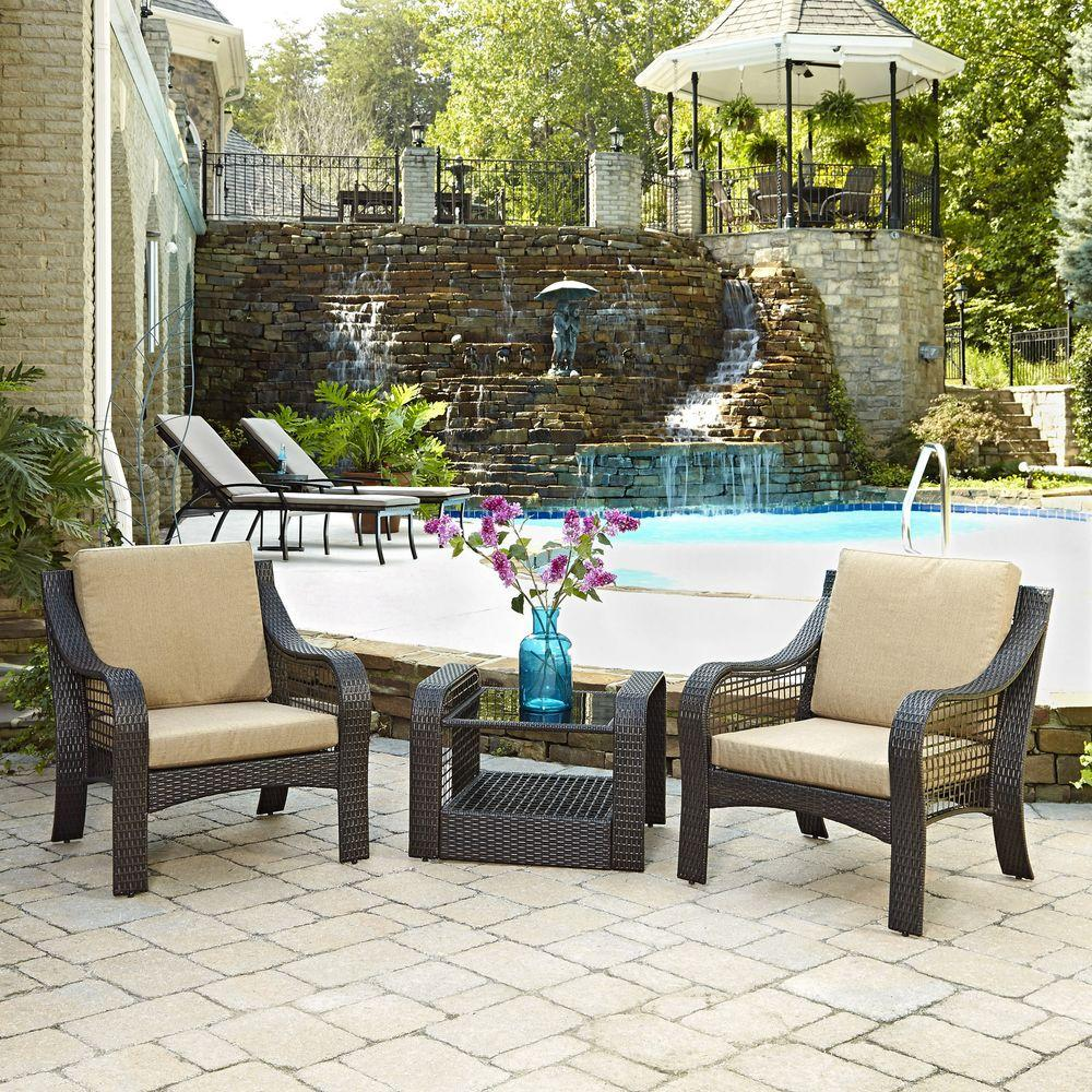 Home Styles Lanai Breeze Deep Brown Woven 2 Piece Patio Accent Chairs And  End Table