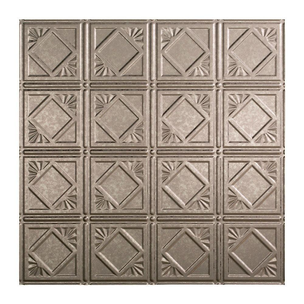 Fasade Traditional 4 - 2 ft. x 2 ft. Lay-in Ceiling Tile in Galvanized Steel