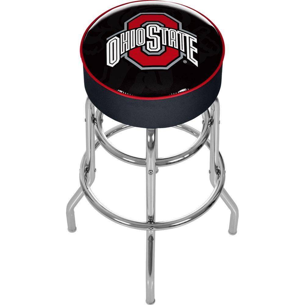 Ohio State Shadow Brutus 31 in. Chrome Padded Swivel Bar Stool