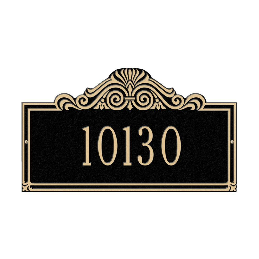 Villa Nova Rectangular Black/Gold Standard Wall One Line Address Plaque