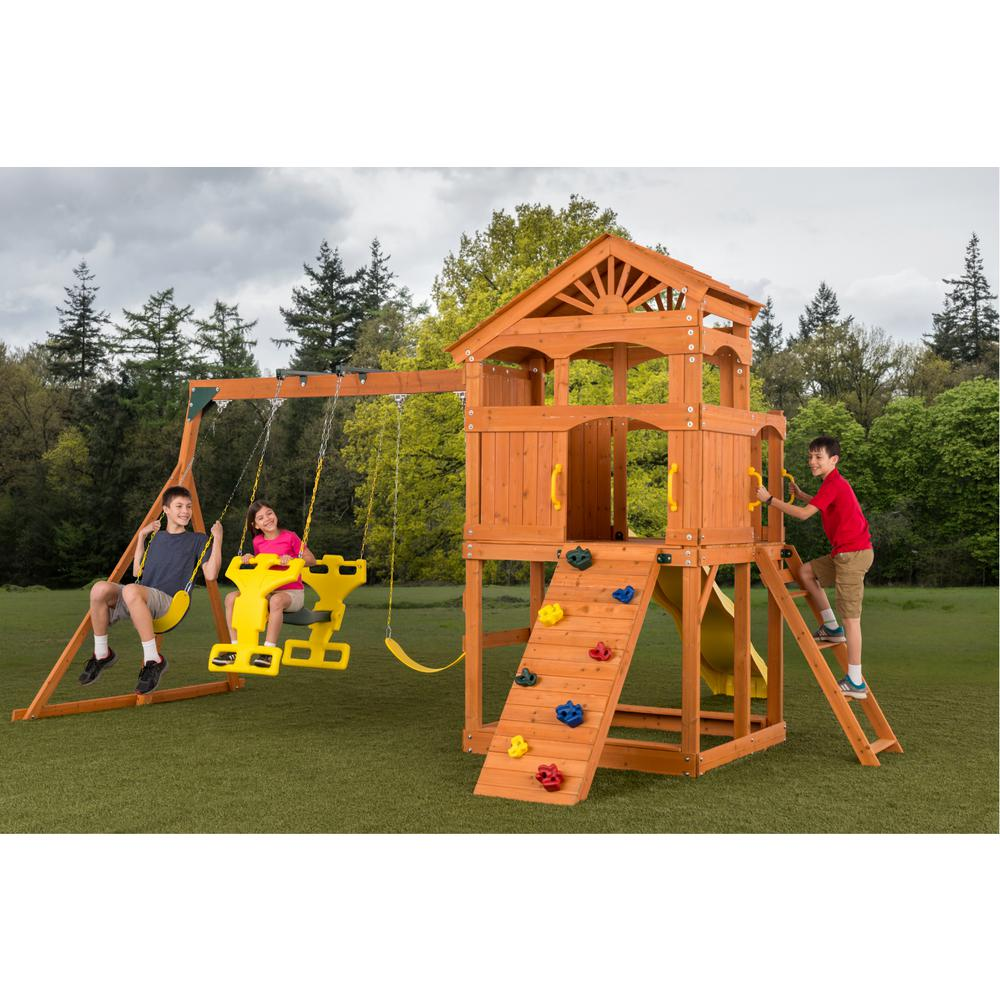 Creative cedar designs timber valley swingset 3512 the for Swing set designs