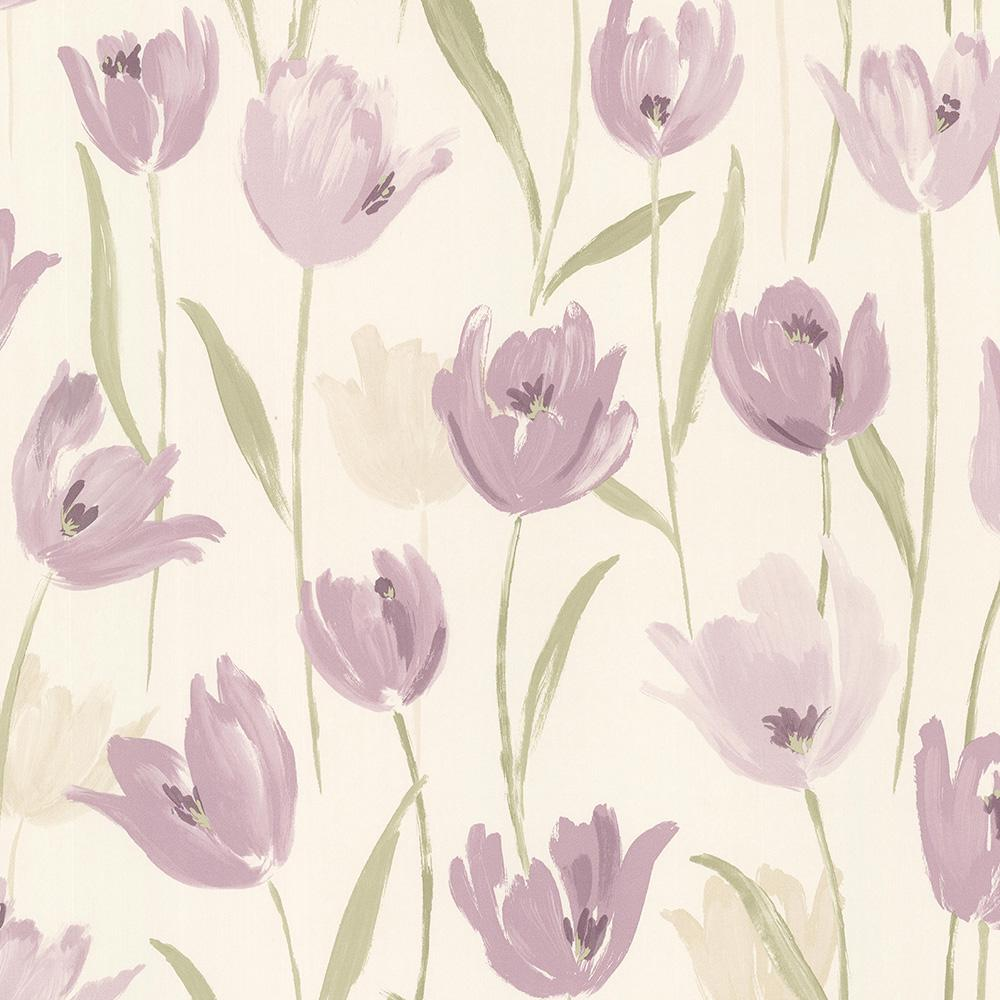 Finch Purple Hand Painted Tulips Wallpaper Sample