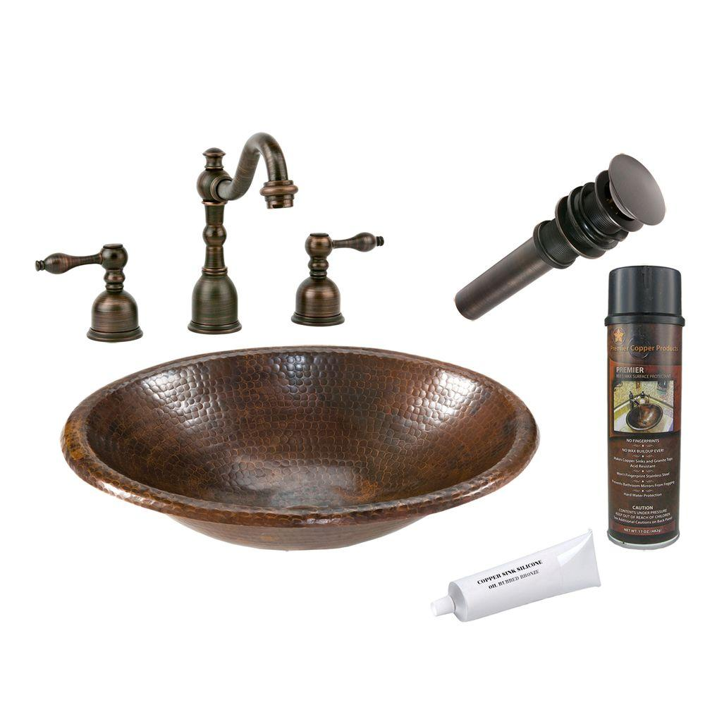 Premier Copper Products Bathroom All-in-One Small Oval Self Rimming Hammered Copper Bathroom Sink in Oil Rubbed Bronze BSP2_LO17RDB