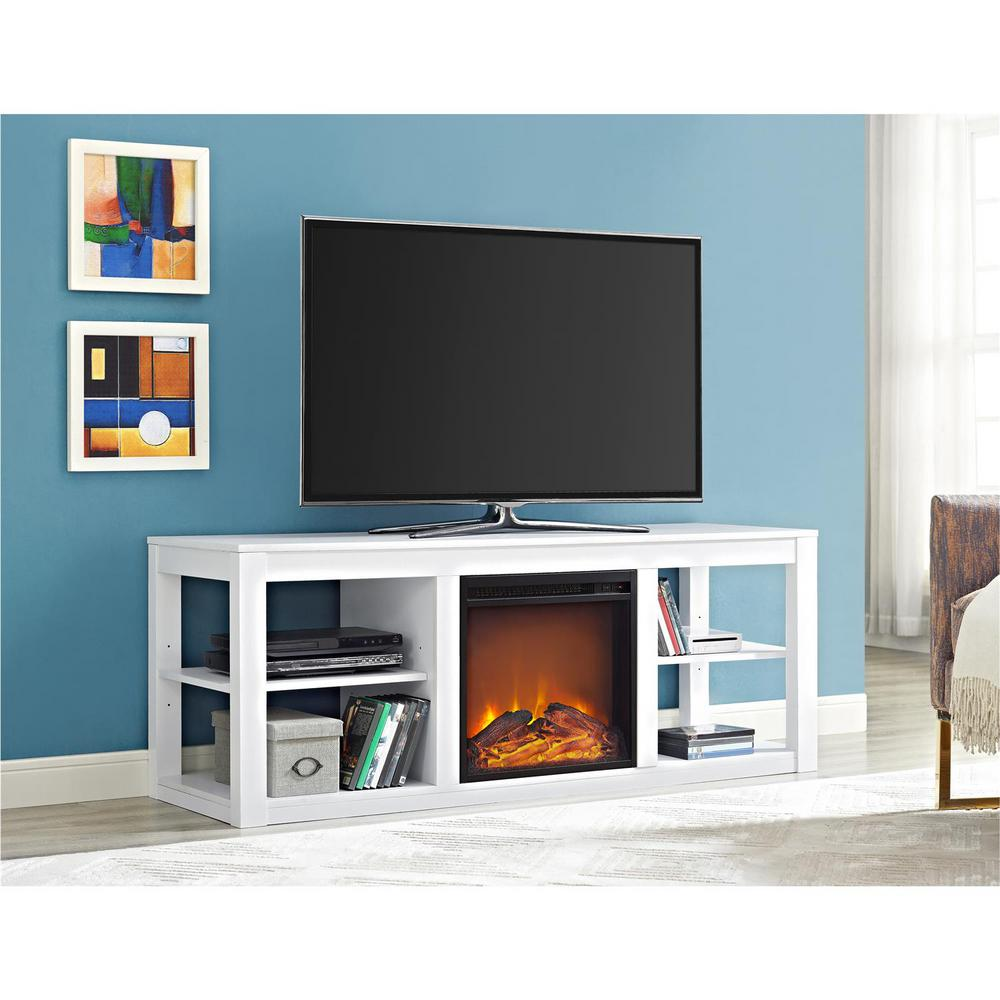 Parsons White 65 in. TV Stand Console with Fireplace