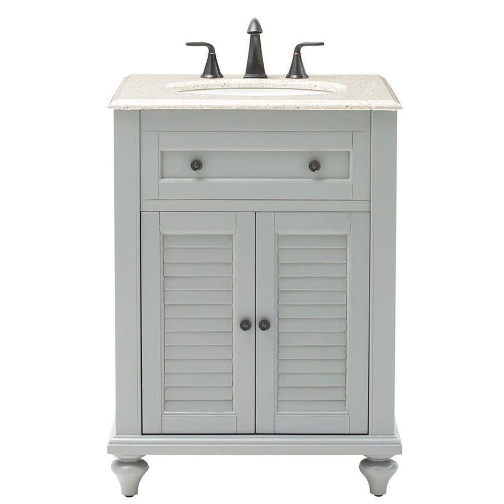 Home Decorators Collection Hamilton 25 in. W Shutter Vanity in Grey
