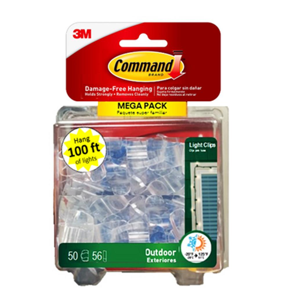 Command Clear Small Outdoor Light Clips 50 Clips 56