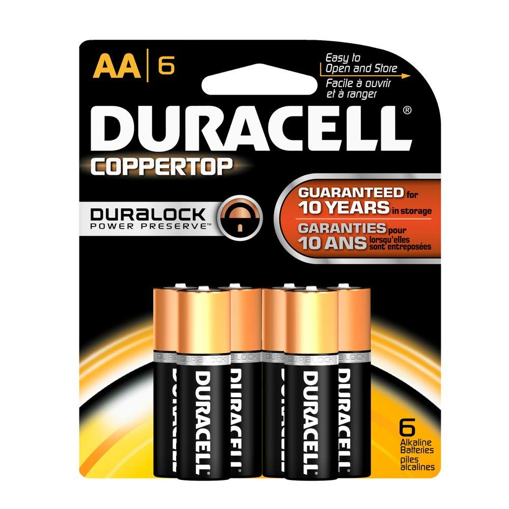 Duracell Coppertop Alkaline AA Battery (6 per Pack)