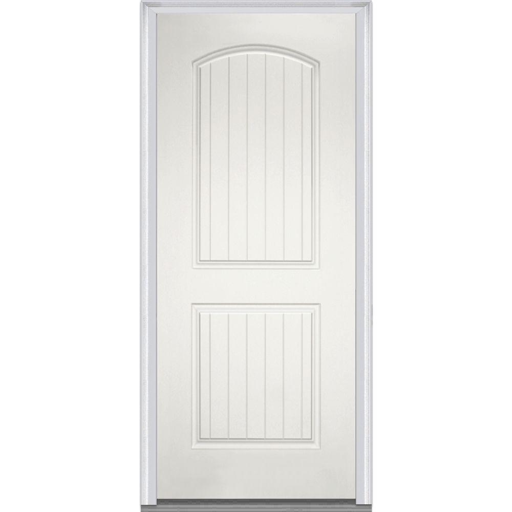 Milliken Millwork 36 in. x 80 in. 2-Panel Arch Planked Primed