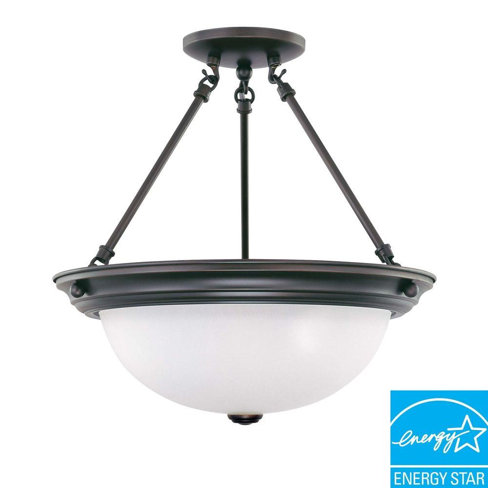 3-Light Mahogany Bronze Fluorescent Ceiling Semi-Flush Mount Light