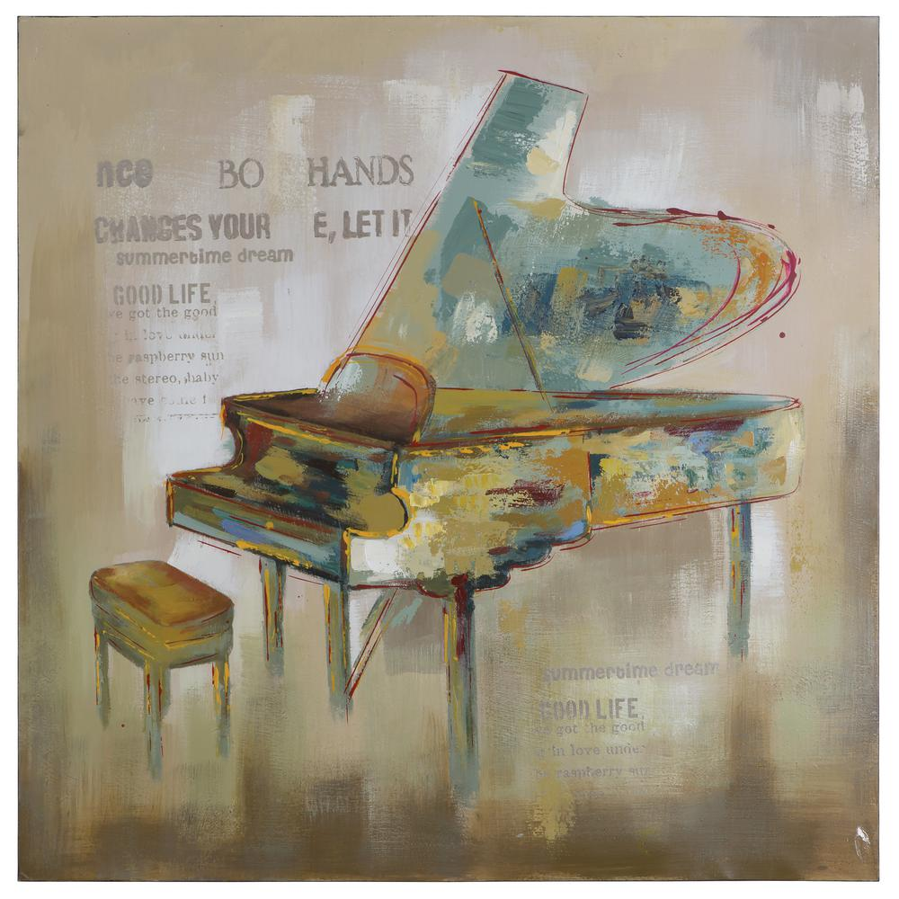 "40 in. x 40 in. ""Paris Piano"" Hand Painted Contemporary Artwork"
