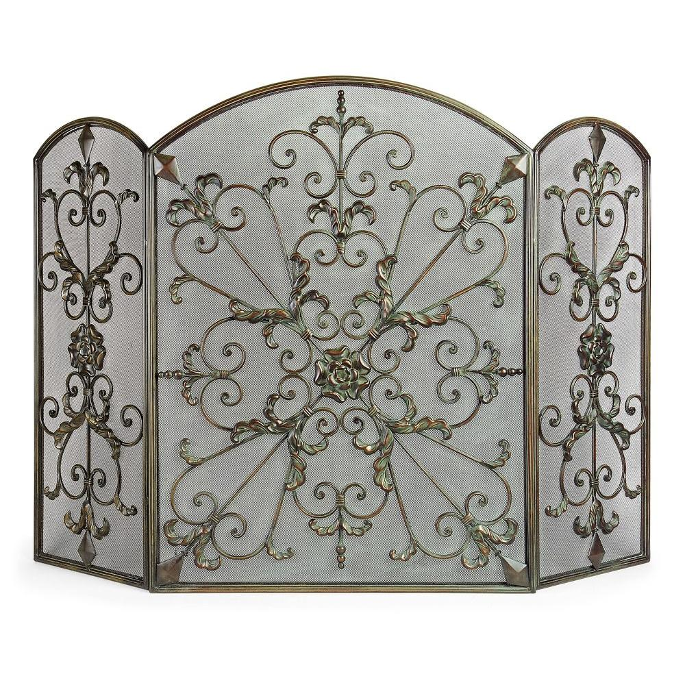 Filament Design Lenor 34 In Bronze Wrought Iron Fireplace Screen 12028 The Home Depot