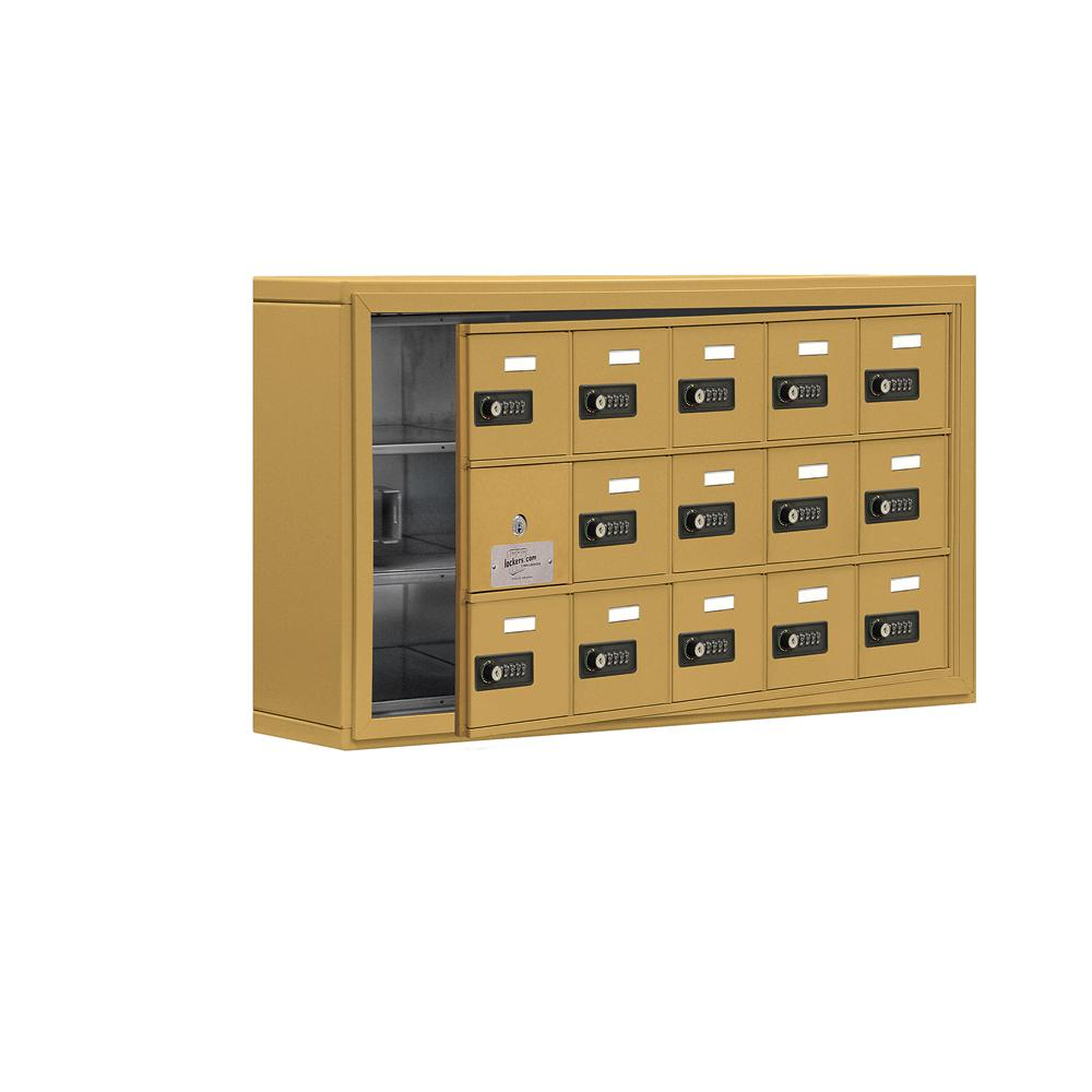 19100 Series 37 in. W x 20 in. H x 6.25 in. D 14 Doors Cell Phone Locker S-Mount Resettable Locks in Gold