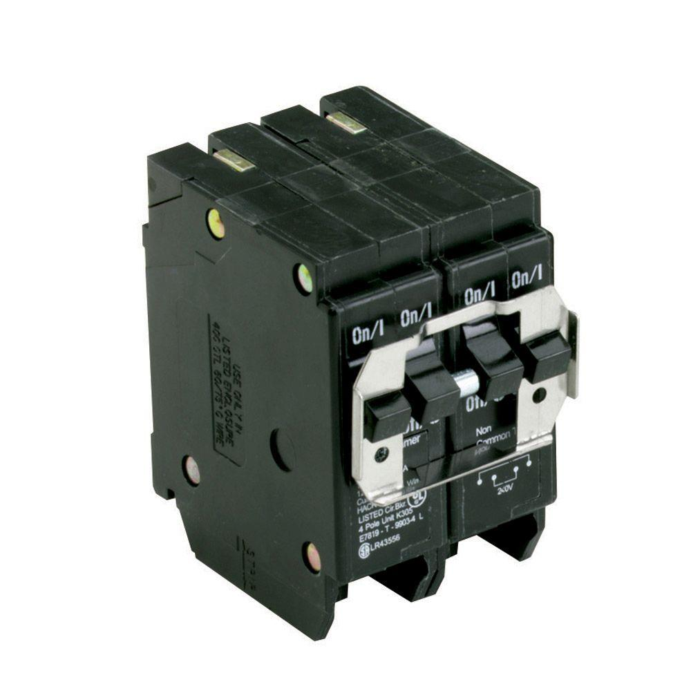 One 30 Amp 2 Pole and One 40 Amp 2 Pole Type BR, BQ Quadplex Circuit Breaker