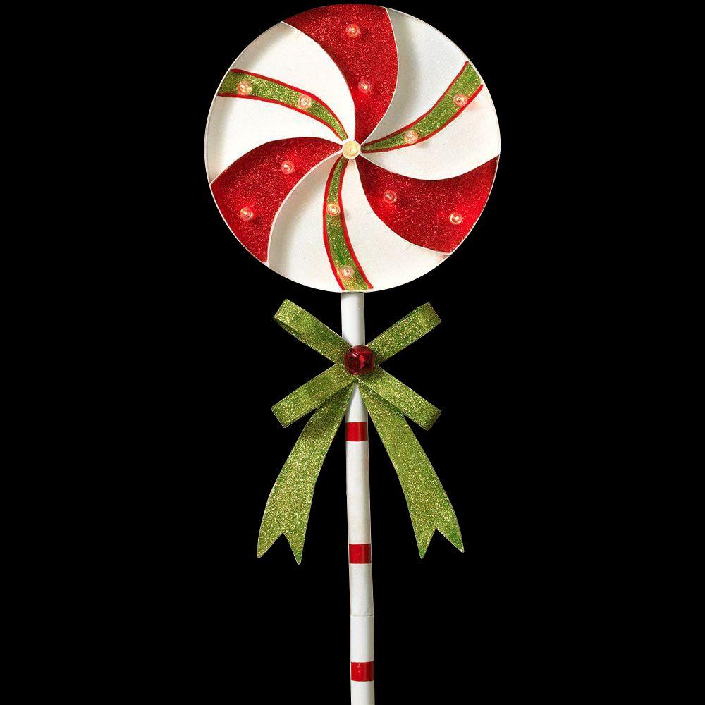 Color Changing Christmas Lights Outdoors: H Battery Operated Lighted Metal Holiday Pinwheel Lollipop Yard Stake,Lighting