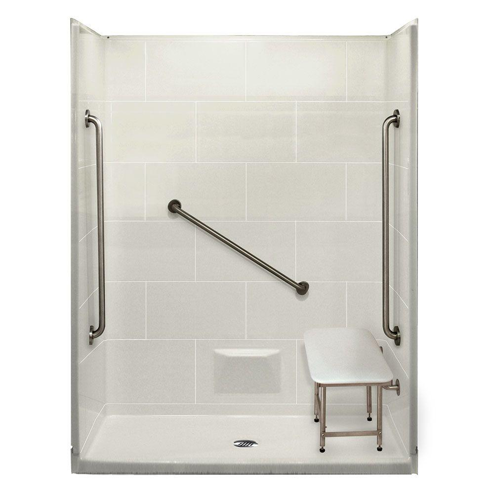 Ella Plus 36 32 in. x 62 in. x 79 in. 5-piece Shower Kit in White with Center Drain