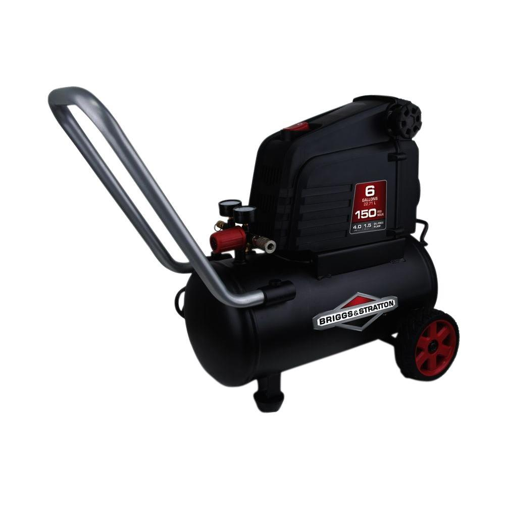 Hotdog Series 6 Gal. Portable Electric-Powered Horizontal Tank Air Compressor