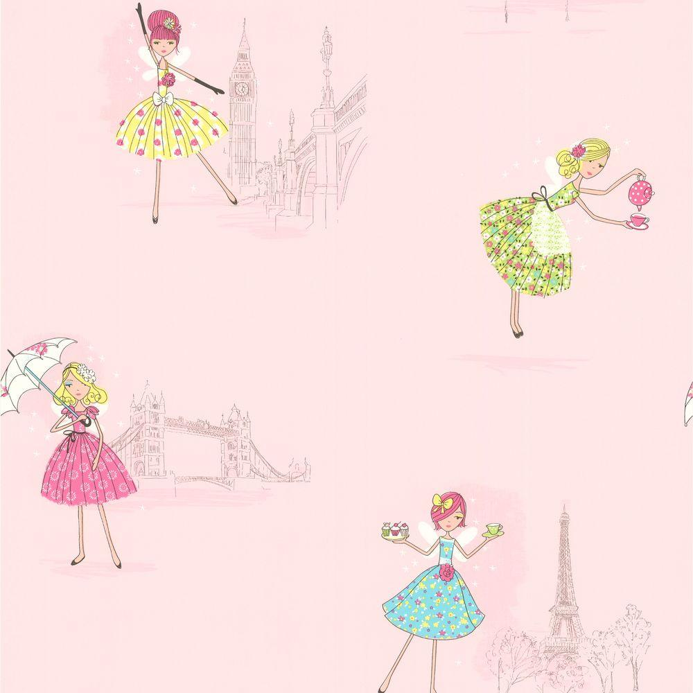 Brewster 56 sq. ft. Fairy Tea Time Light Pink European Party Wallpaper