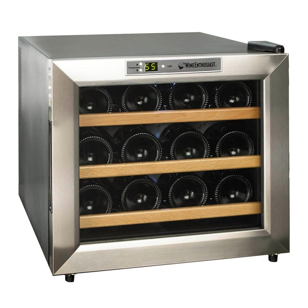Wine Enthusiast Silent 12-Bottle Wine Cooler in Stainless Steel with Wood