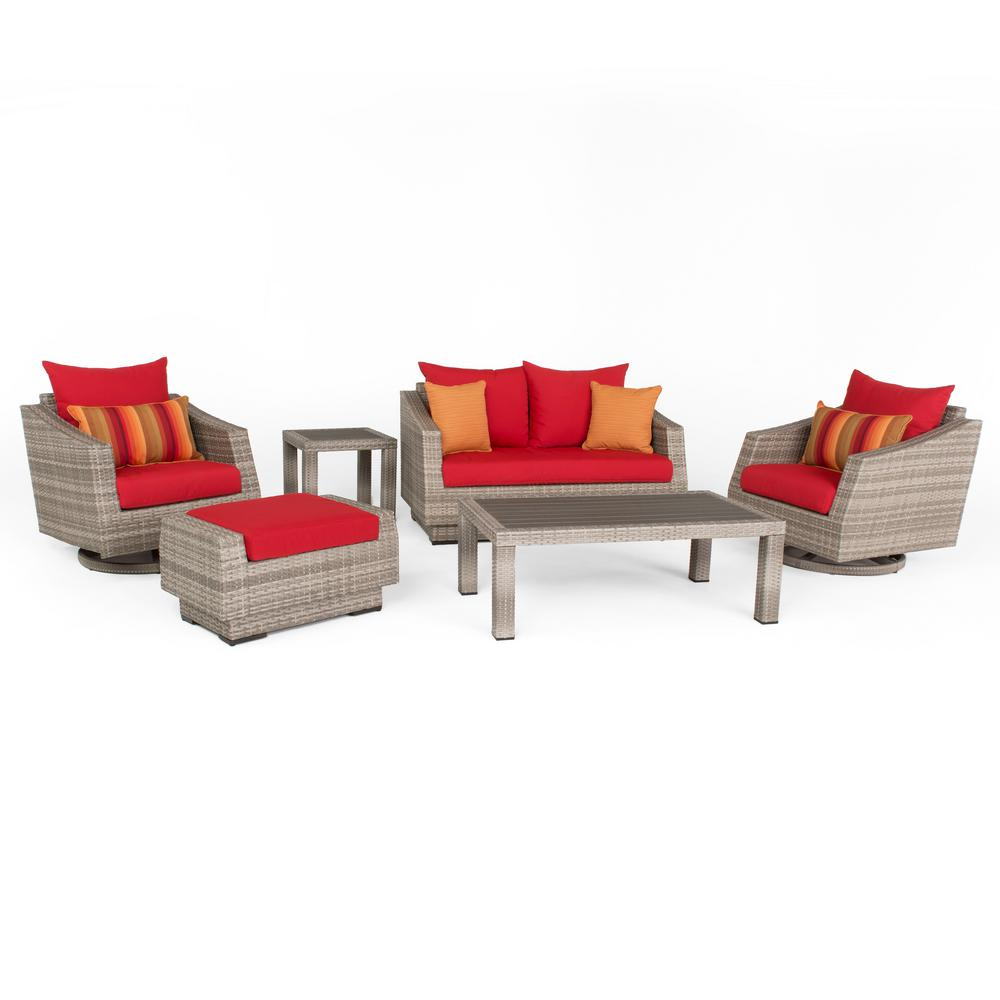 Cannes 6-Piece All-Weather Wicker Patio Love and Motion Club Seating Set