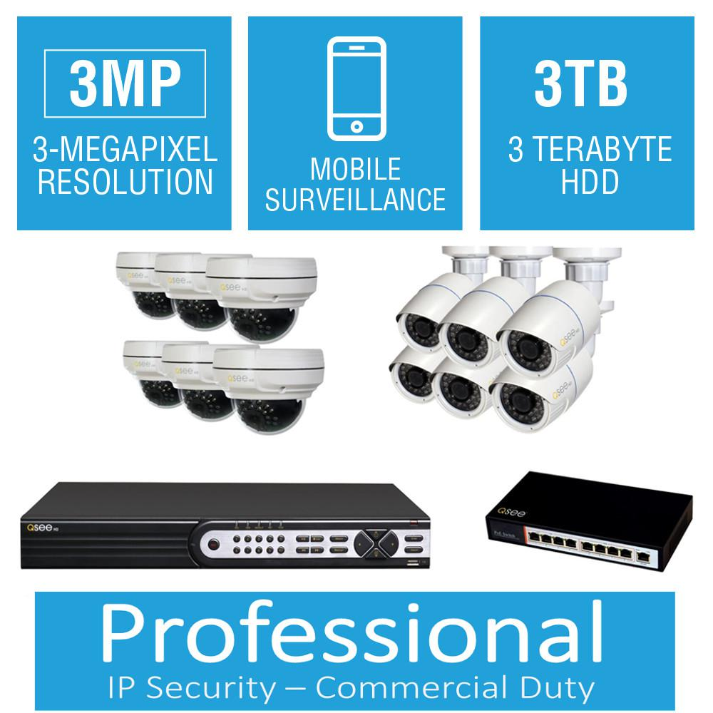 Q-SEE 16-Channel 3MP 3TB Full HD IP Surveillance System with (6)