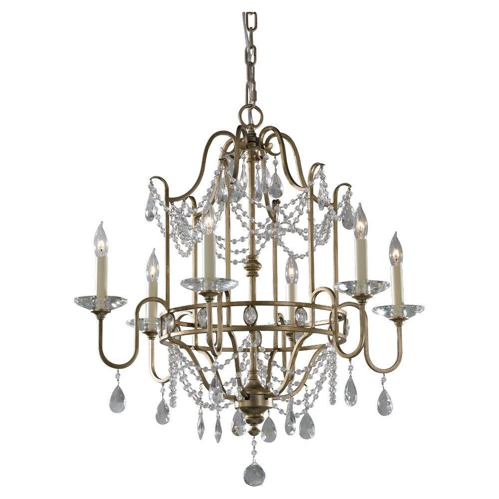Gianna 6-Light Gilded Silver 1-Tier Chandelier