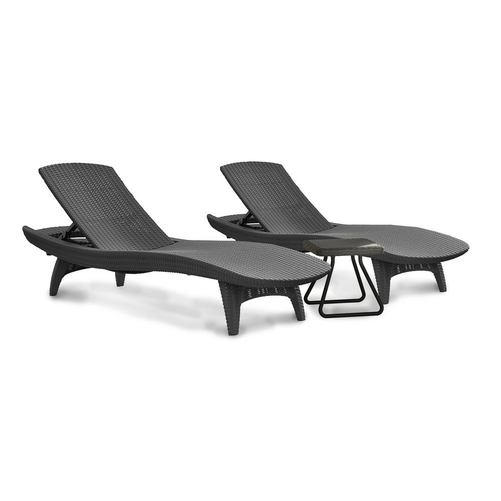 Pacific Grey All-Weather Adjustable Resin Patio Chaise Lounger with Side Table